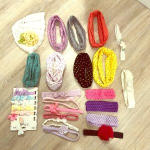 Other - 24 BABY/ TODDLER Headbands, 5 CLIP ON BOWS & 1HAT